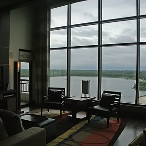 17 of 38: Bay Lake Tower at Disney's Contemporary Resort - The view from the living area onto Bay Lake, Spaceship Earth and Expedition Everest are on the horizon