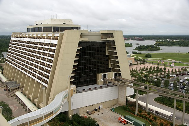 Bay Lake Tower at Disney's Contemporary Resort - The main Contemporary Resort tower viewed from the outdoor deck at the Top of the World Lounge