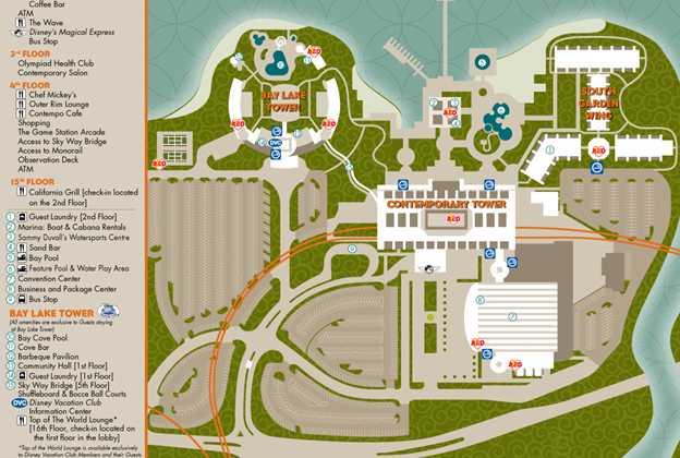 Bay Lake Tower map