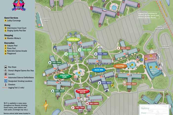 2013 All Star Music Resort guide map