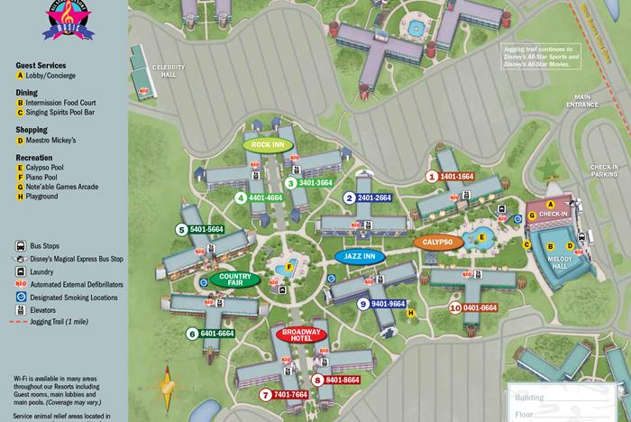 2013 All Star Music Resort guide map