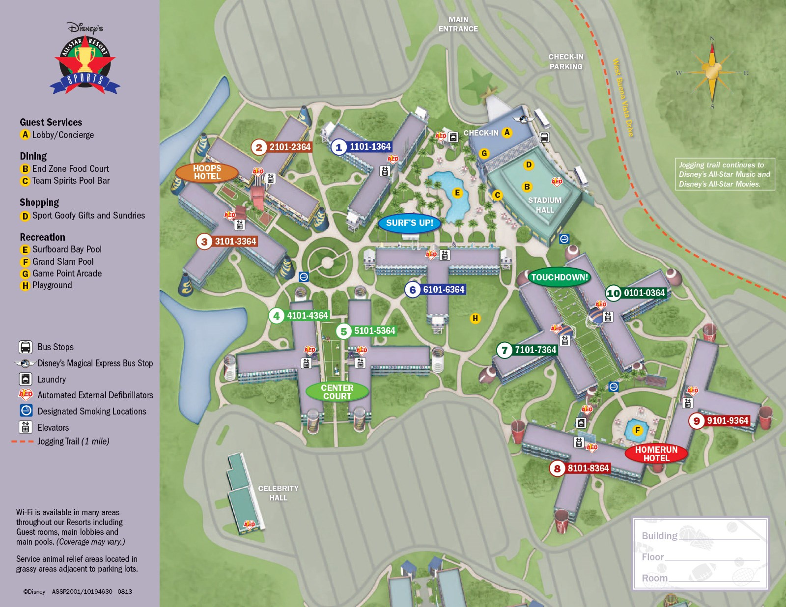 2013 All Star Sports Resort guide map