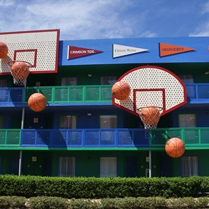 3 of 4: Disney's All Star Sports Resort - Hoops Hotel buildings