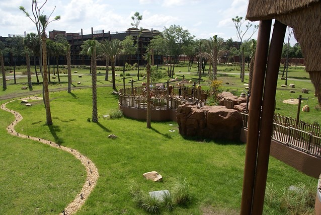 Disney's Animal Kingdom Villas - View of the overlook area from the Kidani Village lobby balcony.