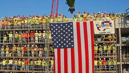 "Construction crews at Disney's Art of Animation Resort celebrate ""Topping Out"""