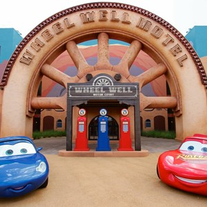 27 of 33: Disney's Art of Animation Resort - Sally and Lightning McQueen in the Cars section of Disney's Art of Animation Resort