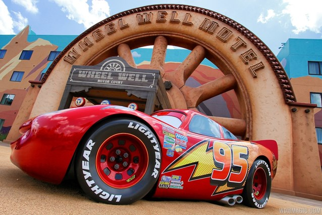 Disney's Art of Animation Resort - Lightning McQueen in front of the Wheel Well Motel building in Cars section at Disney's Art of Animation Resort