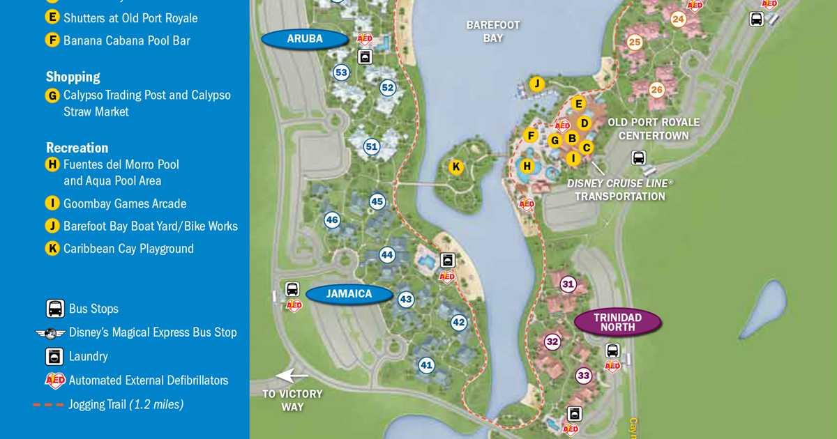2013 Caribbean Beach Resort guide map 1 of 6