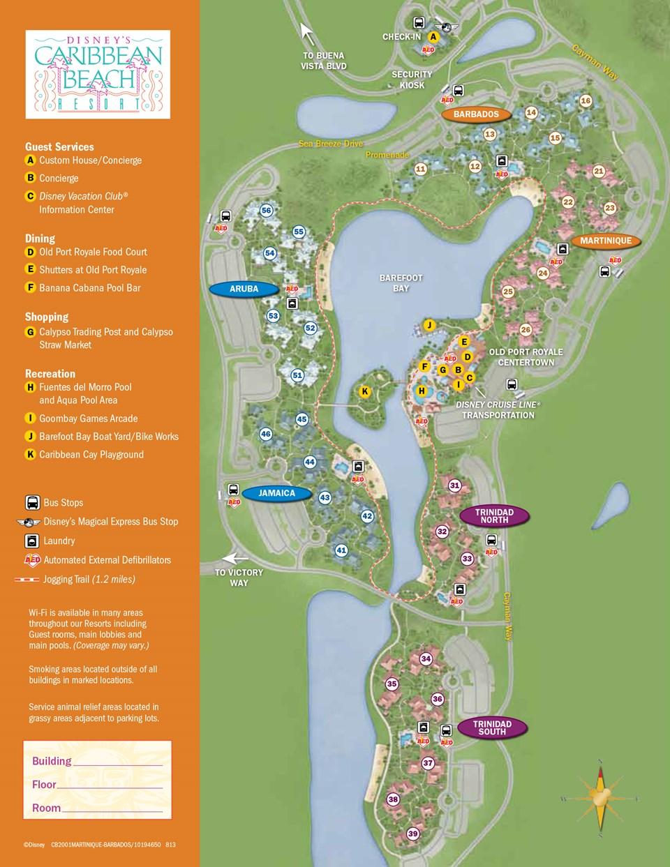 2013 Caribbean Beach Resort guide map 3 of 6