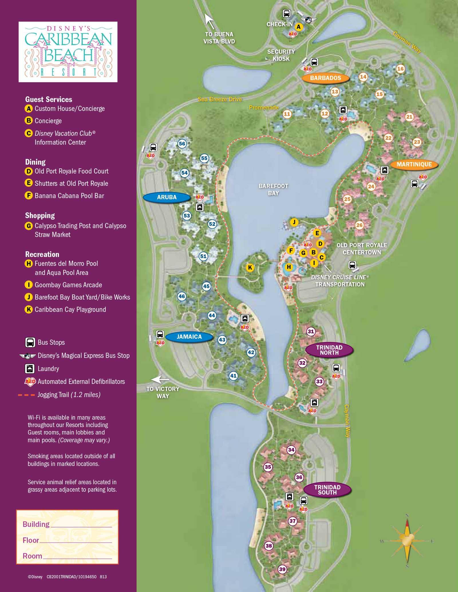 2013 Caribbean Beach Resort guide map - Photo 5 of 6