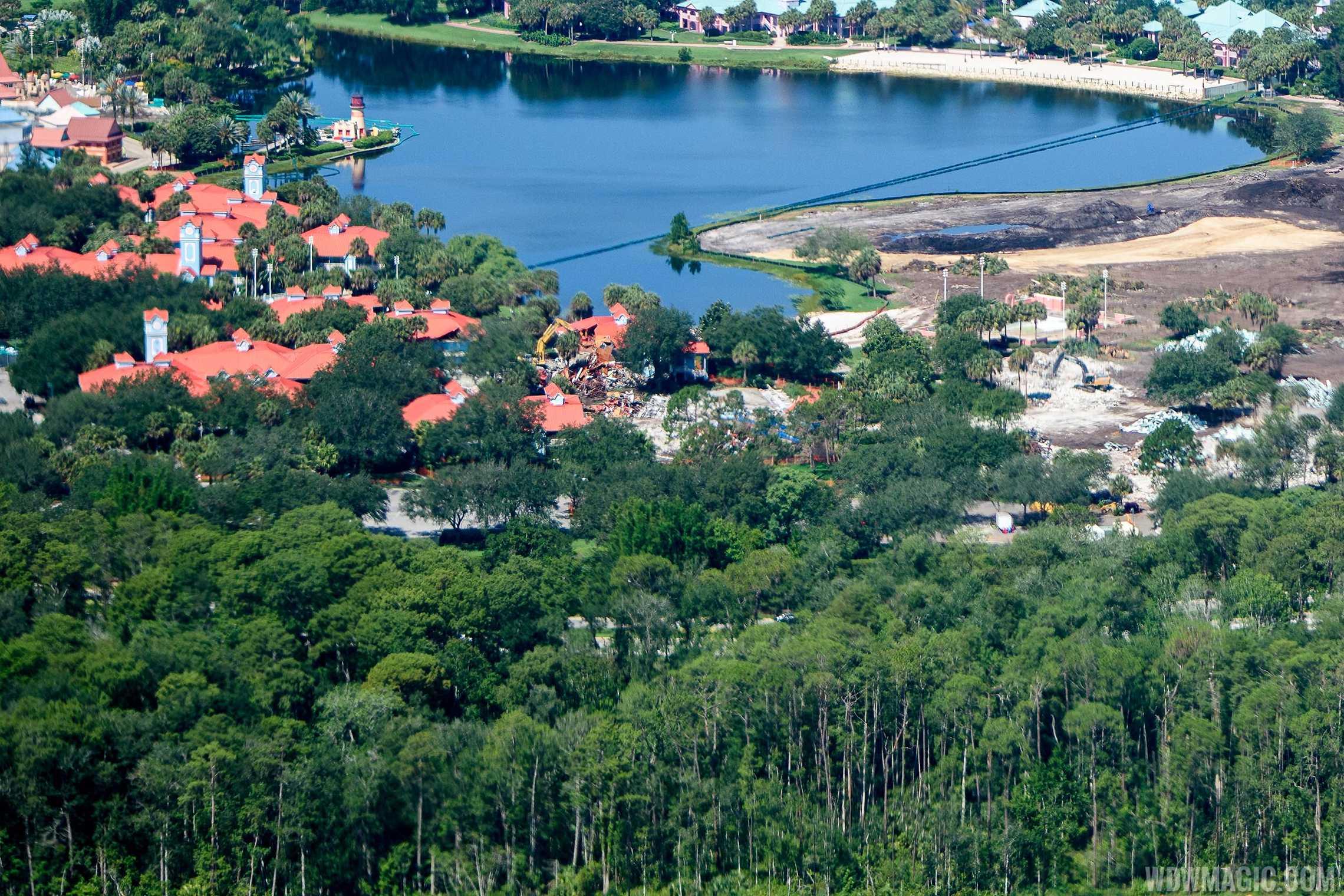 Martinique demolition in progress at Disney's Caribbean Beach Resort