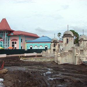 2 of 3: Disney's Caribbean Beach Resort - Latest Caribbean Beach main pool refurbishment progress photos