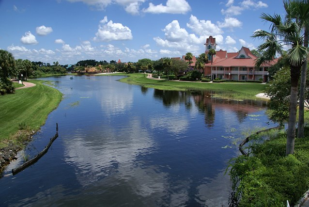 Disney's Caribbean Beach Resort - View from the bridge looking towards Trinidad North and Old Port Royale in the background