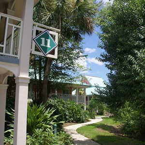 3 of 10: Disney's Caribbean Beach Resort - Building 11 walkway leading building 12