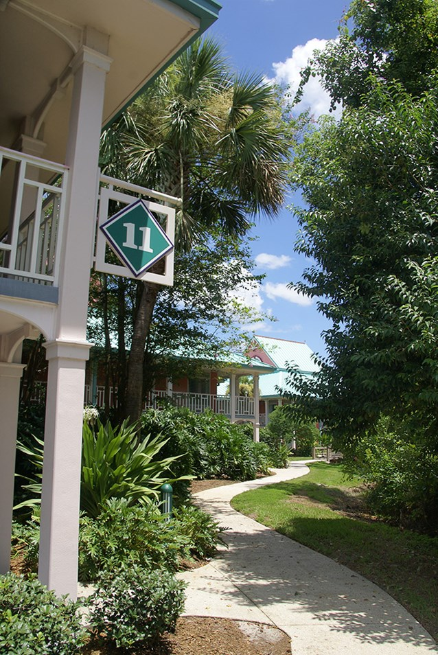 Disney's Caribbean Beach Resort - Building 11 walkway leading building 12