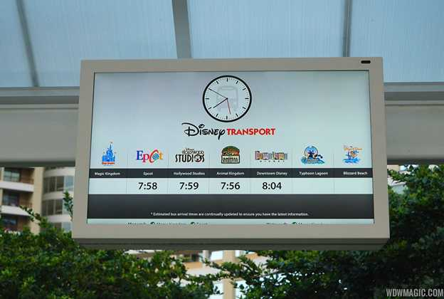 Bus Wait Time display at Disney's Contemporary Resort