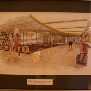 2 of 3: Disney's Contemporary Resort - Contemporary lobby area construction and concept art