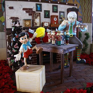 6 of 8: Disney's Contemporary Resort - Gepetto's Toy Shop holiday display at the Contemporary Resort