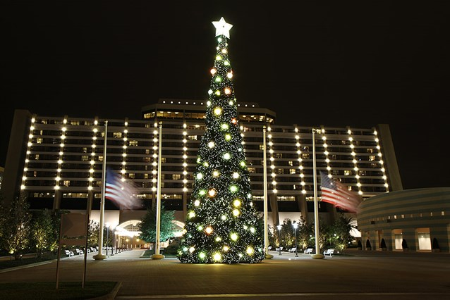 Disney's Contemporary Resort - The Contemporary Resort christmas tree - 70 ft tall featuring nearly 35,800 white LEDs