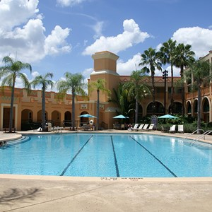 2 of 2: Disney's Coronado Springs Resort - Casitas quiet pool with the La Vida Health Club in the background
