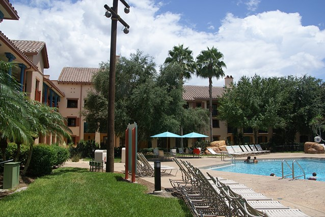 Disney's Coronado Springs Resort - Ranchos building 7b alongside the Ranchos quiet pool
