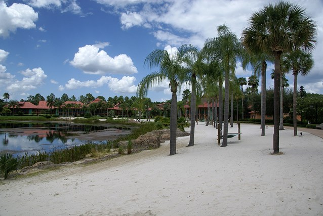 Disney's Coronado Springs Resort - View from outside Cabanas 9b across the beach