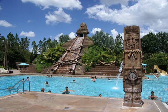 Disney's Coronado Springs Resort - The Lost City of Cibola pool with the Jaguar Slide splash-down on the far right