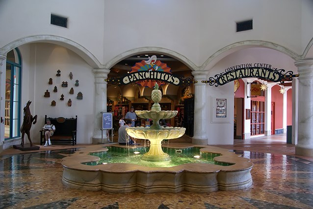 Disney's Coronado Springs Resort - El Centro lobby area looking towards the gift shop and restaurant areas