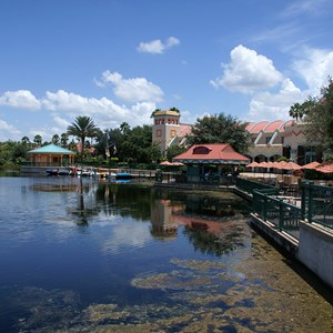 14 of 16: Disney's Coronado Springs Resort - A view of the El Centro area from the Casitas walkway