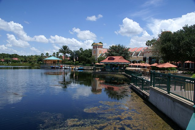 Disney's Coronado Springs Resort - A view of the El Centro area from the Casitas walkway