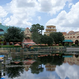 15 of 16: Disney's Coronado Springs Resort - El Centro viewed from Marina dock