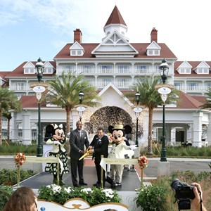 1 of 6: The Villas at Disney's Grand Floridian Resort - Ken Potrock, Norm Noble at the new Villas at Disney's Grand Floridian Resort joined Mickey and Minnie Mouse to celebrate the grand opening