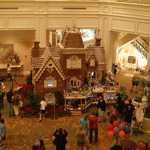 5 of 15: Disney's Grand Floridian Resort and Spa - An overhead view of the Gingerbread House in The Grand Floridian lobby
