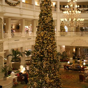 2 of 15: Disney's Grand Floridian Resort and Spa - The Grand Floridian lobby Christmas tree.