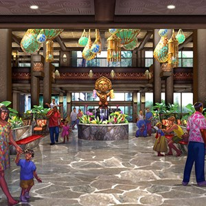 2 of 5: Disney's Polynesian Resort - Concept art for the new Grand Ceremonial House lobby at Disney's Polynesian Resort