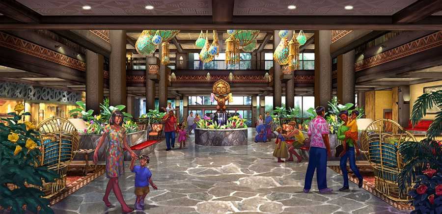 Concept art for the new Grand Ceremonial House lobby at Disney's Polynesian Resort