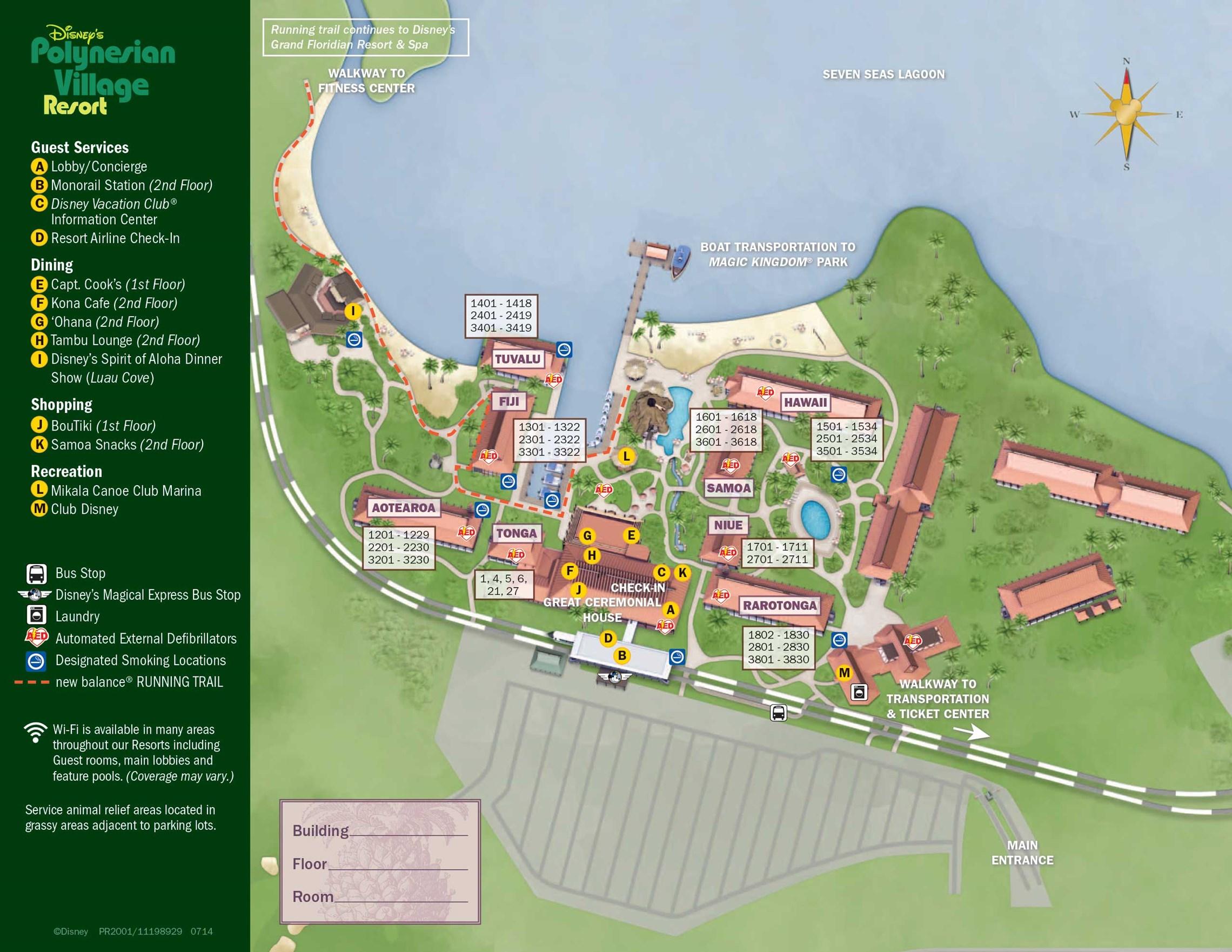 2014 Disney's Polynesian Village Resort guide map