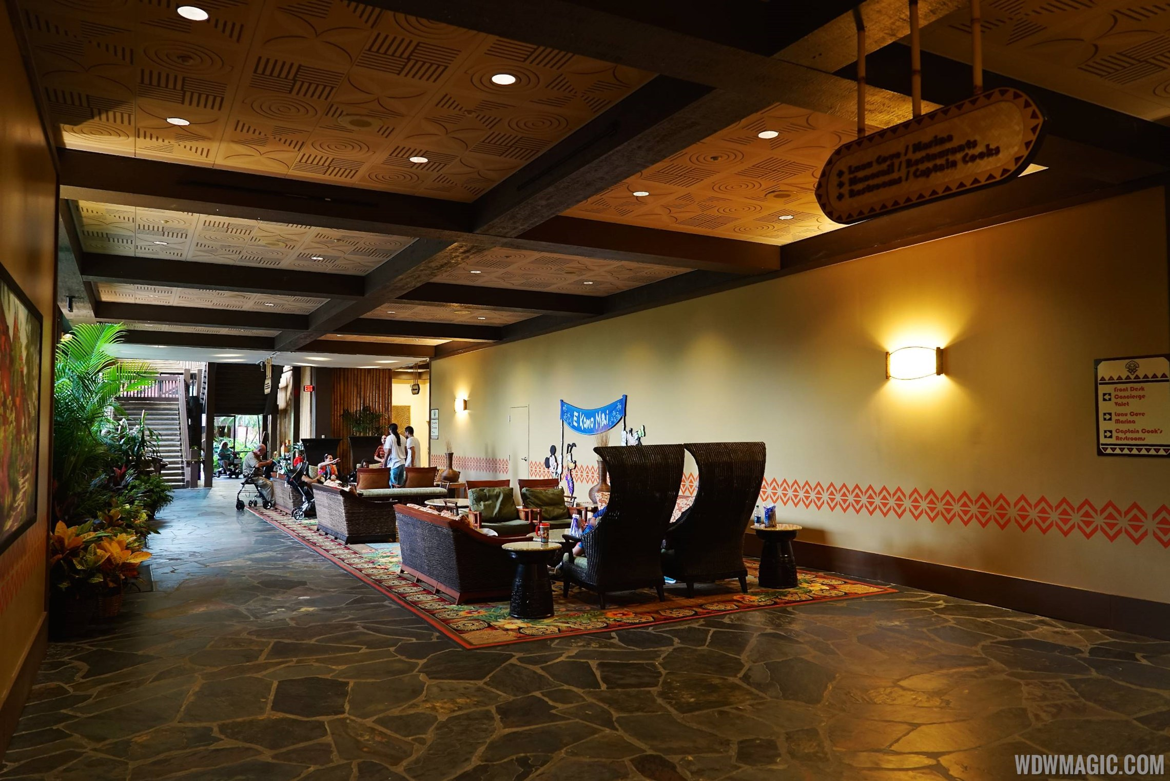 Polynesian resort lobby construction walls