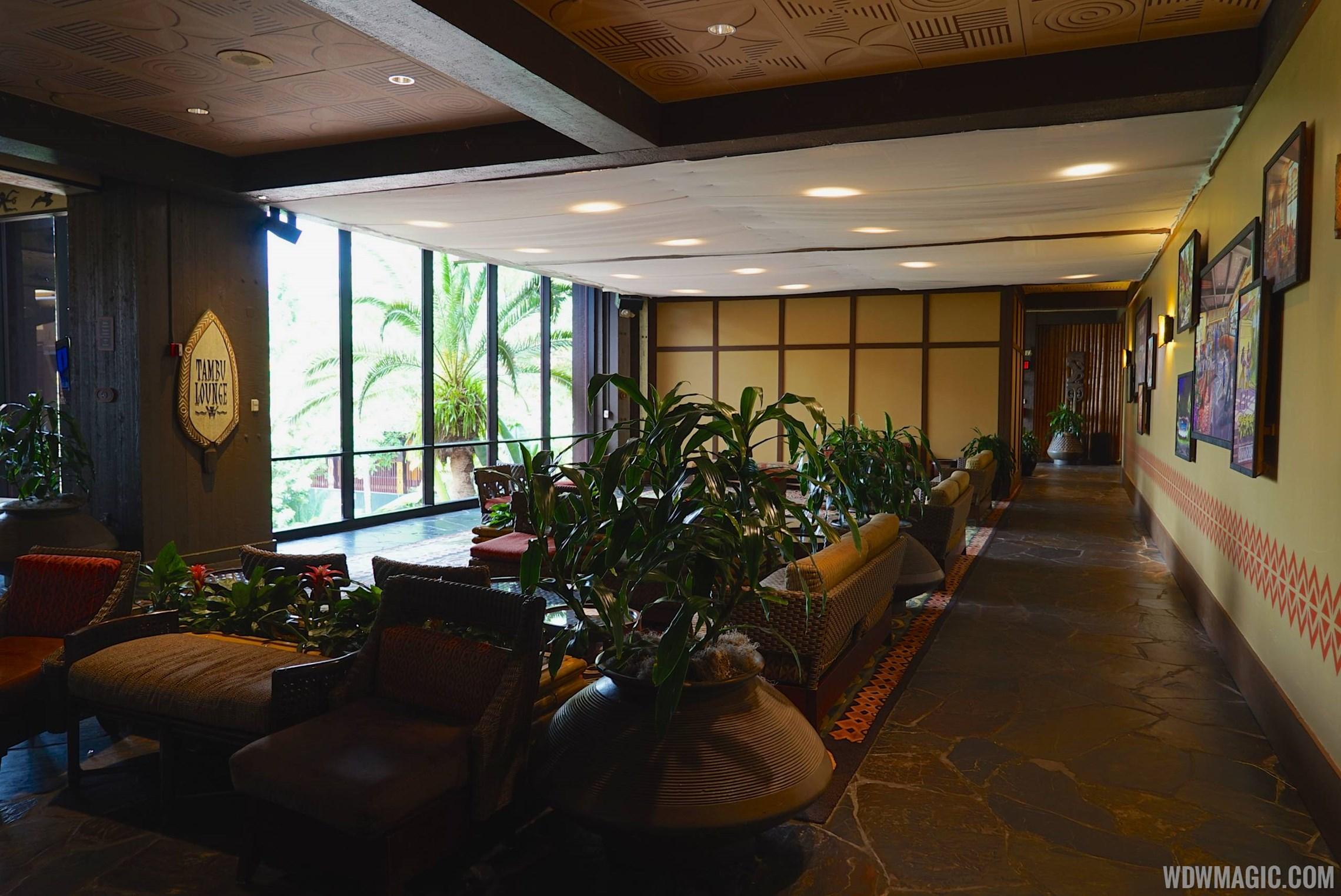 Polynesian resort lobby construction walls