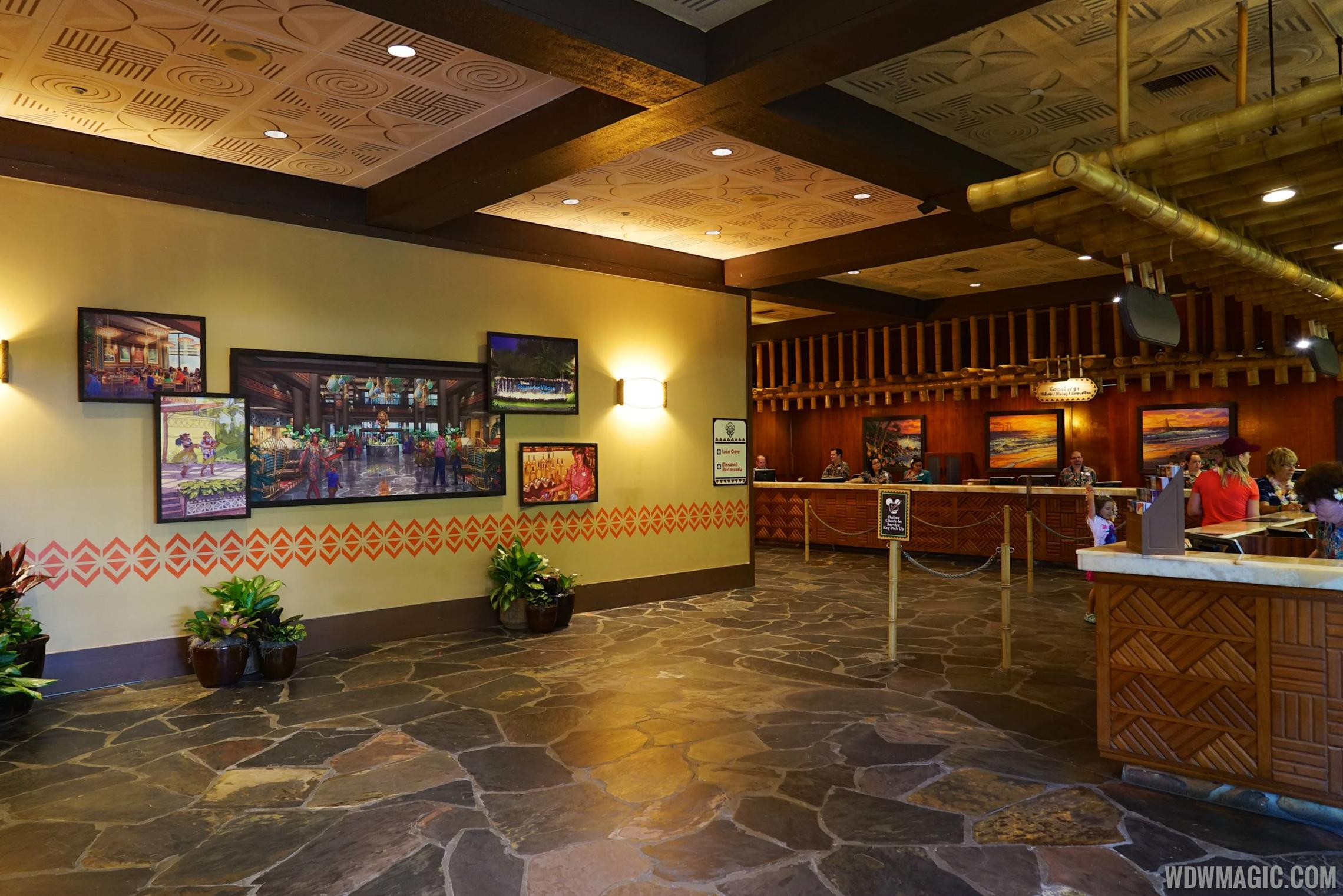 The front desk area in the lobby