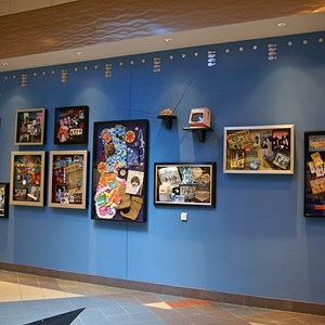17 of 24: Disney's Pop Century Resort - Classic Hall - registration, transportation, shopping and food court