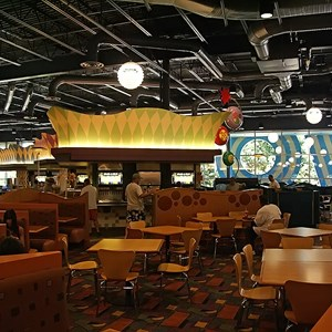 22 of 24: Disney's Pop Century Resort - Classic Hall - registration, transportation, shopping and food court