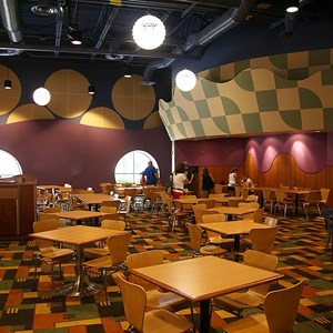 23 of 24: Disney's Pop Century Resort - Classic Hall - registration, transportation, shopping and food court