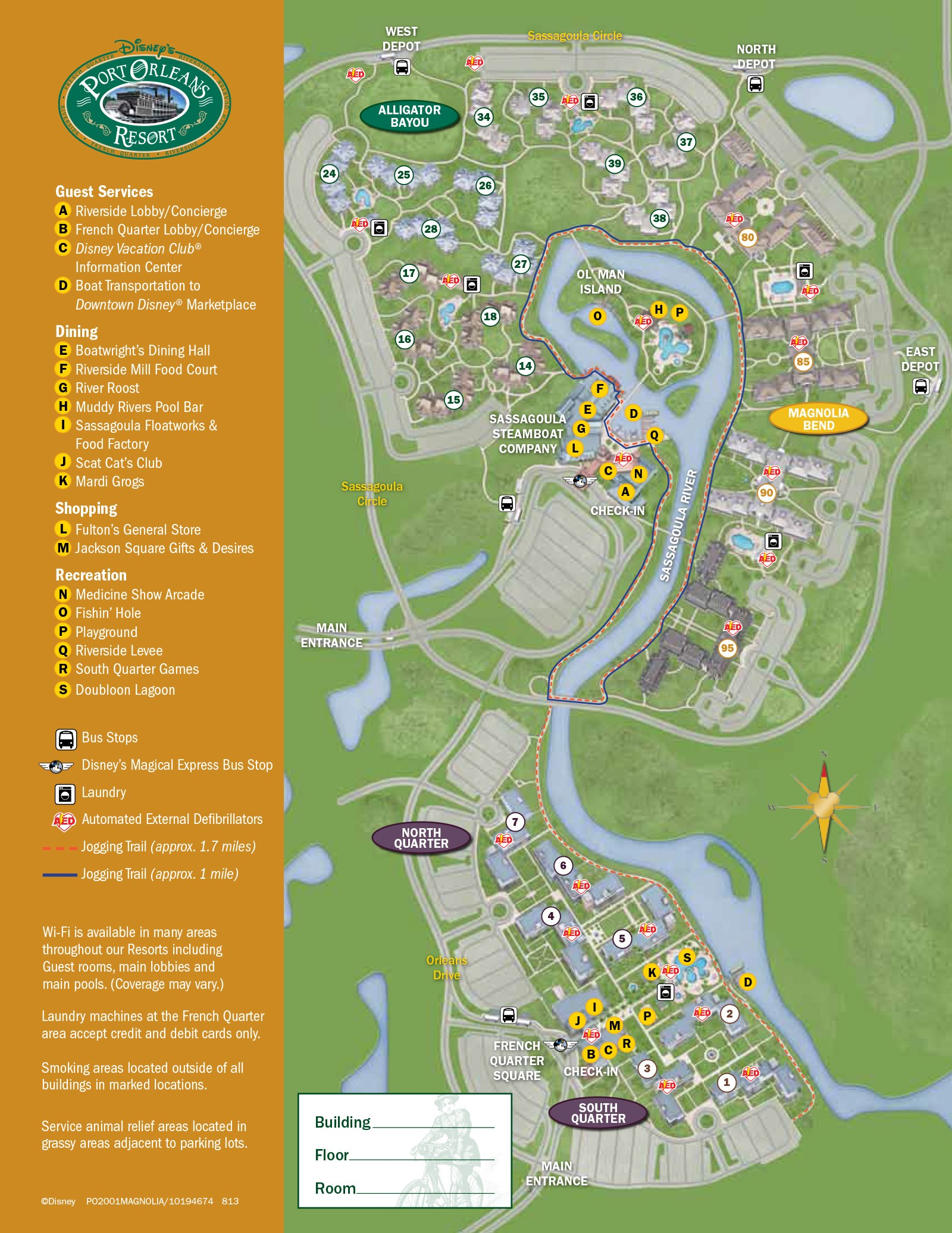 2013 Port Orleans Riverside guide map