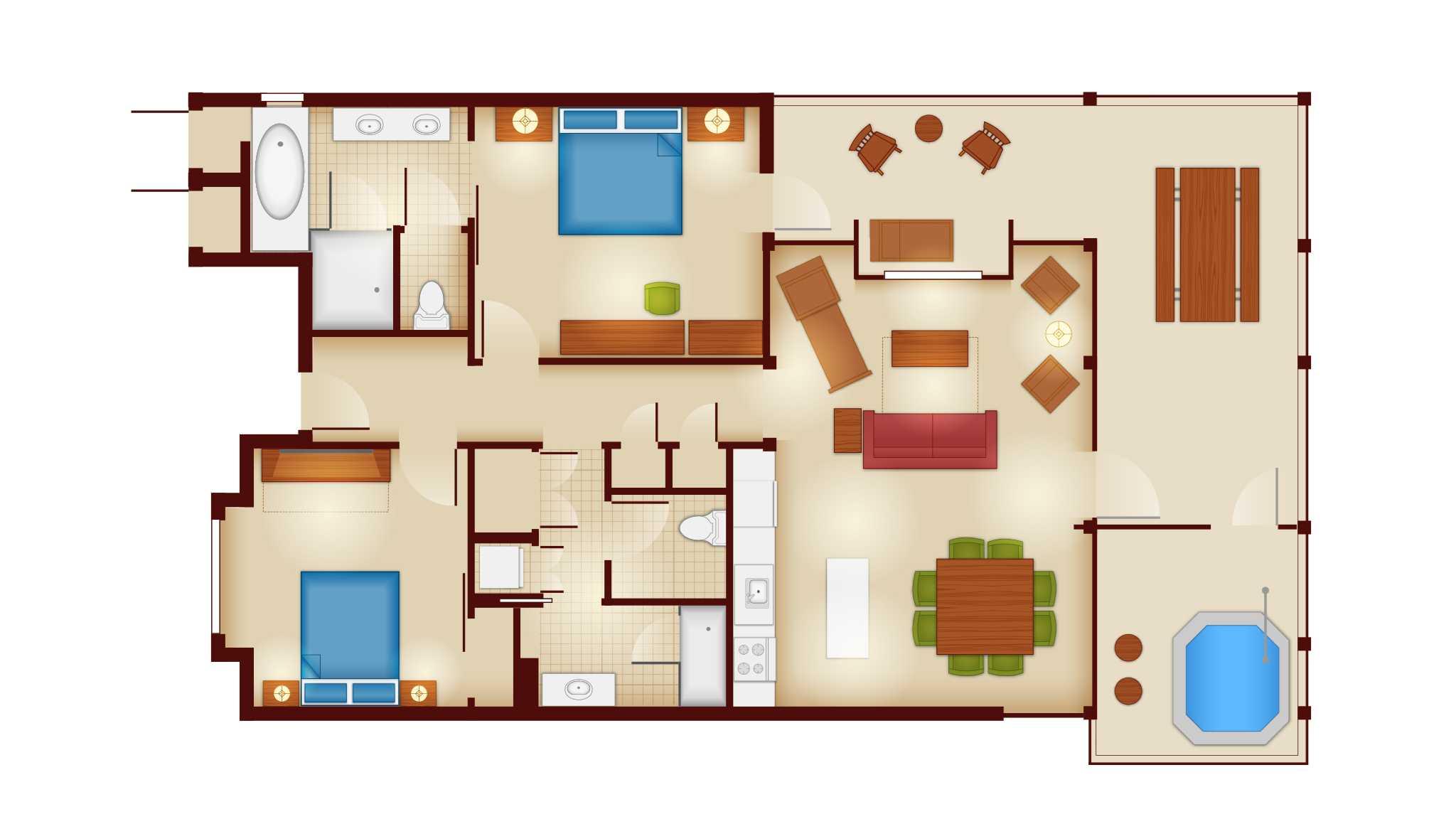 Copper Creek Villas and Cabins - 2 Bedroom Cascade Cabin floor plan