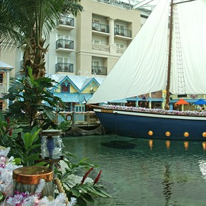 6 of 12: Gaylord Palms Resort - The 60' sailboat at the entrance of the restaurant serves appetizers onboard