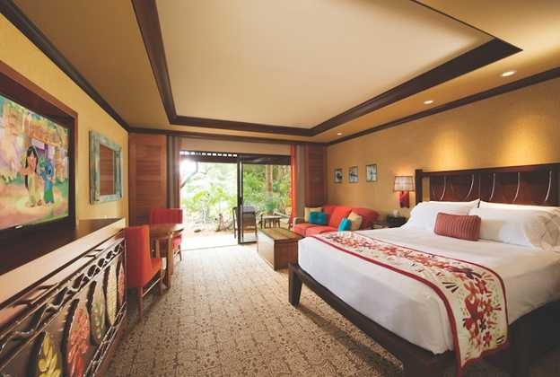Inside a Deluxe Studio room at Disney's Polynesian Villas and Bungalows