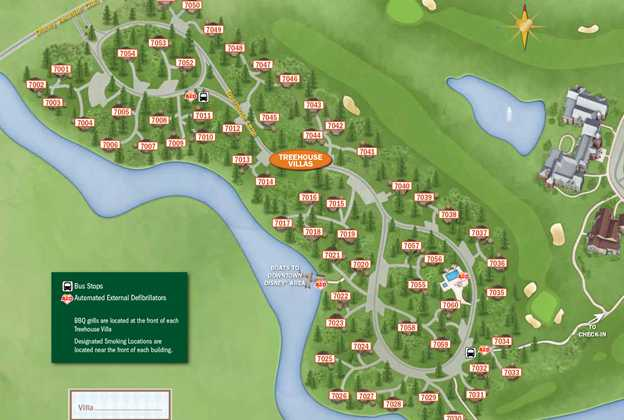 2013 Treehouse Villas guide map