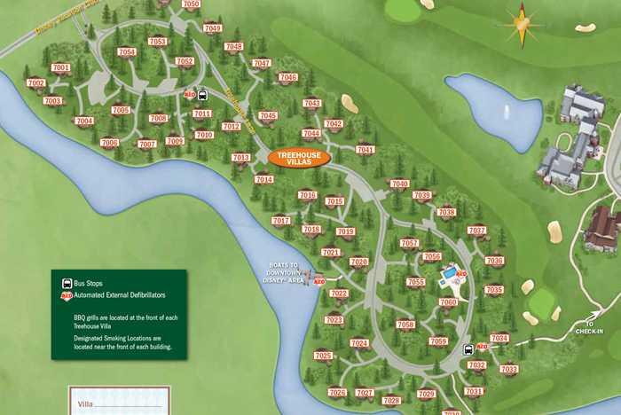 2013 Treehouse Villas guide map