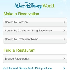 1 of 6: Walt Disney World Resorts - Mobile dining reservations iPhone screen shots